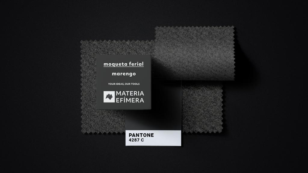 Moqueta ferial gris marengo- Muestra moqueta color gris marengo-PANTONE 4287 C-MATERIA-EFÍMERA-STANDS