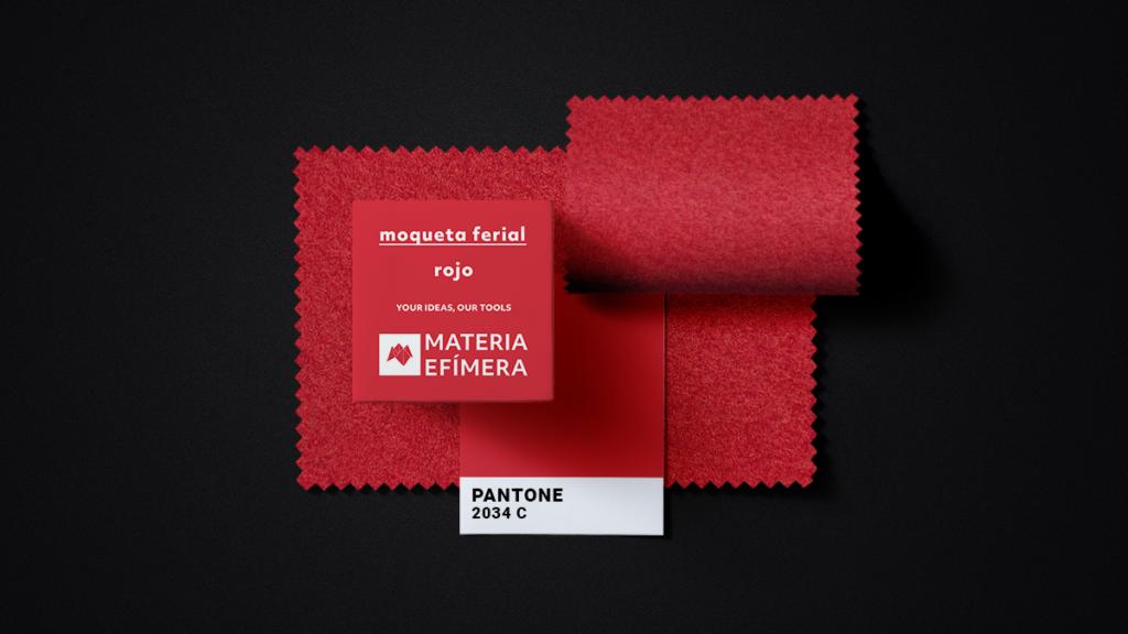 Moqueta ferial roja- Muestra moqueta color rojo-PANTONE 2034 C-MATERIA-EFÍMERA-STANDS