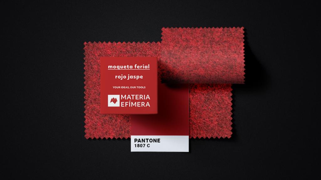 Moqueta ferial rojo jaspe- Muestra moqueta color rojo jaspe -PANTONE 1807 C-MATERIA-EFÍMERA-STANDS