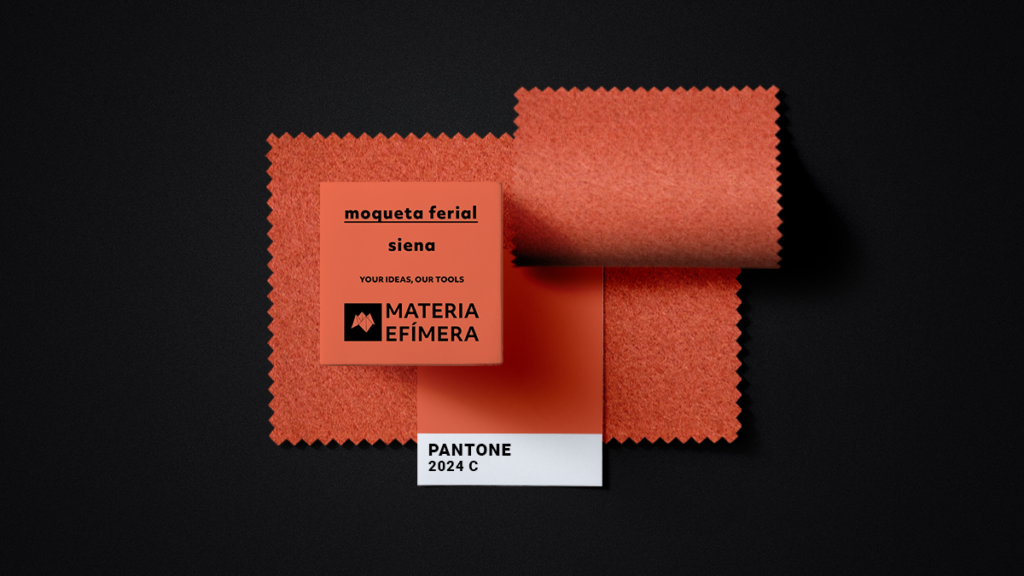 Moqueta ferial siena- Muestra moqueta color naranja siena-PANTONE 2024 C-MATERIA-EFÍMERA-STANDS