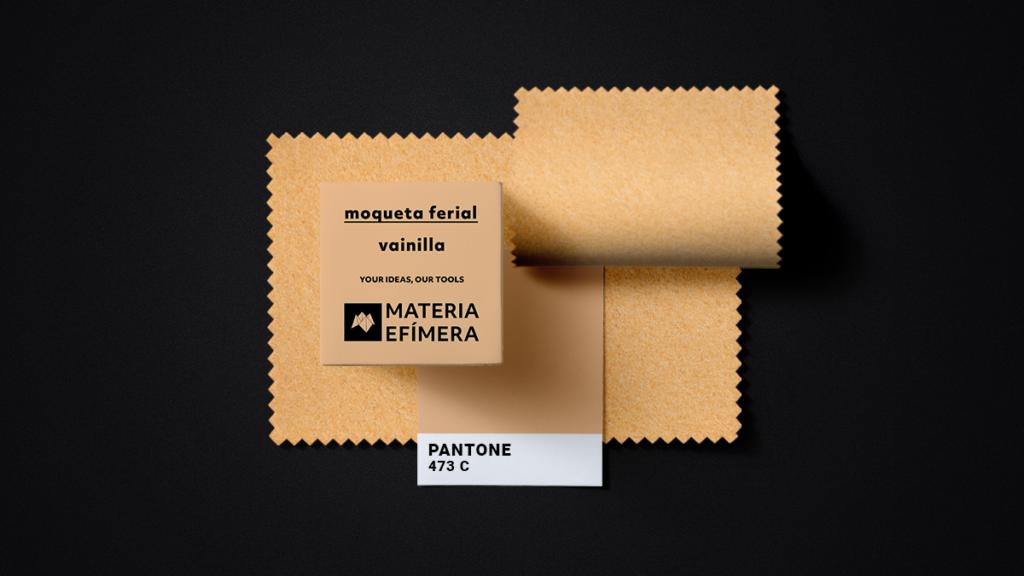 Moqueta ferial vainilla- Muestra moqueta color amarillo vainilla-PANTONE 473 C-MATERIA-EFÍMERA-STANDS