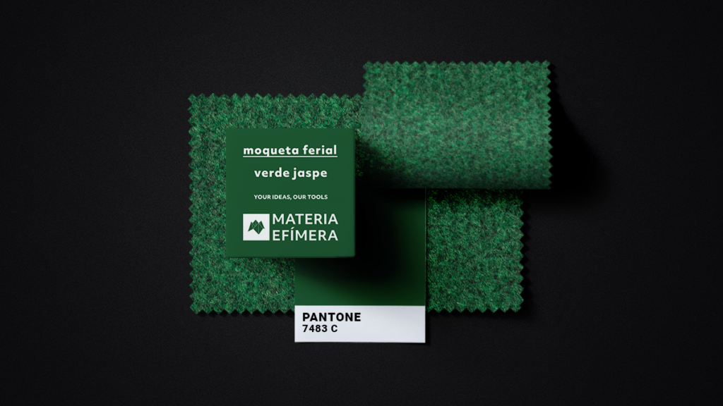 Moqueta ferial verde jaspe- Muestra moqueta color verde jaspe-PANTONE 7483 C-MATERIA-EFÍMERA-STANDS