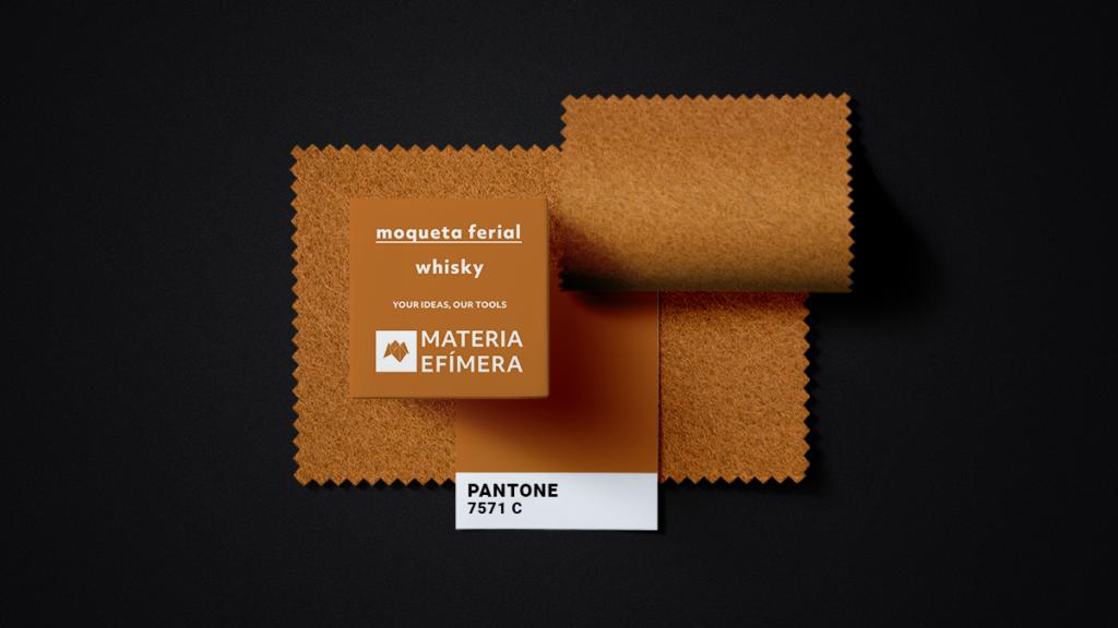 Moqueta ferial whisky- Muestra moqueta color ocre whisky-PANTONE 7571 C-MATERIA-EFÍMERA-STANDS